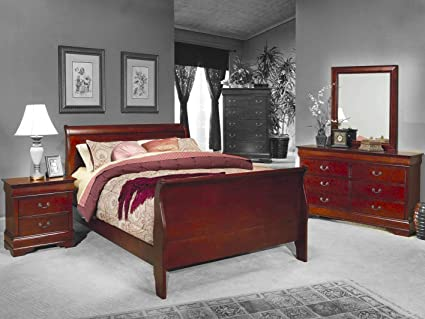 4pc Queen Size Sleigh Bedroom Set Louis Philippe Style in Cherry Finish