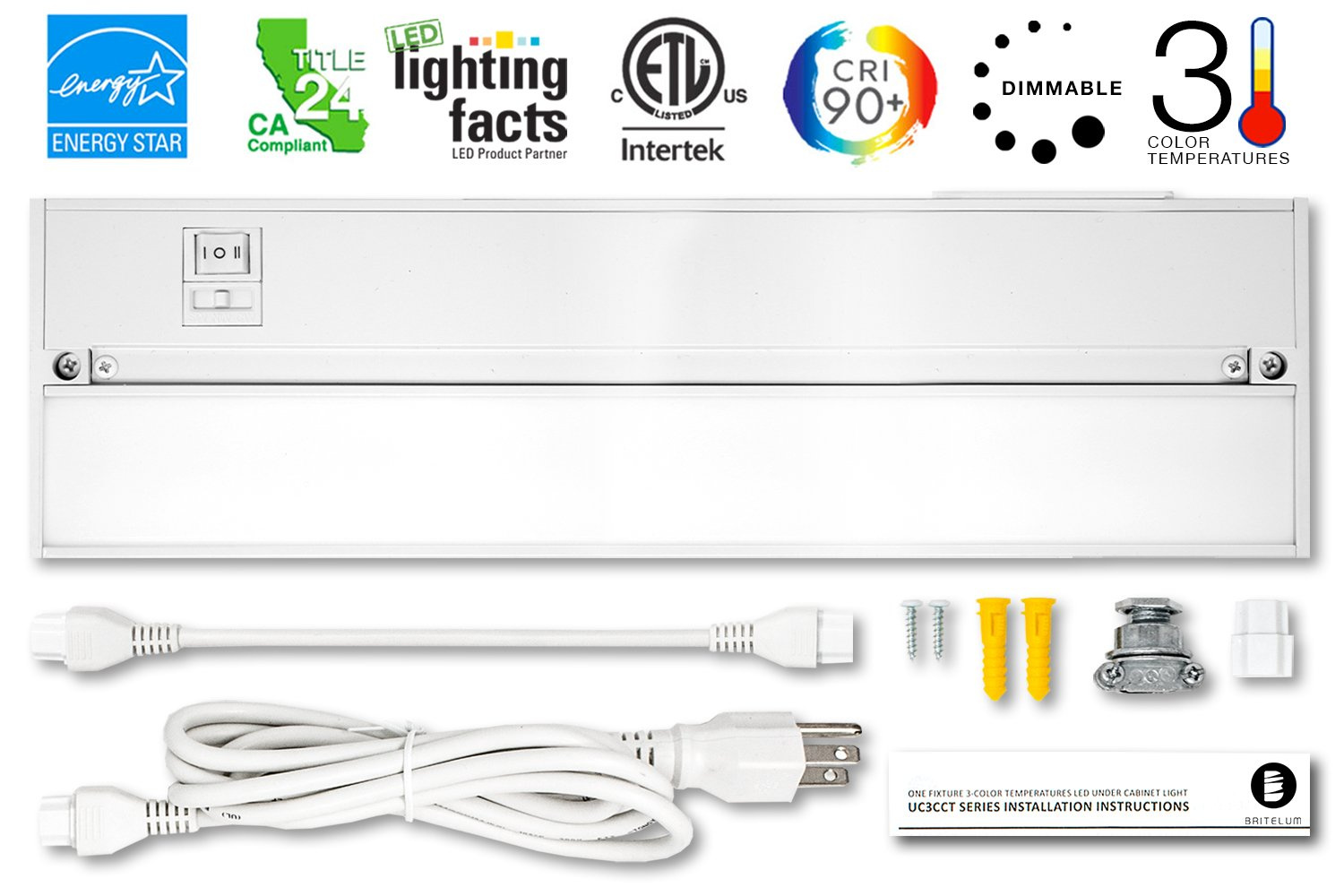 Britelum 14 Inch, 3-in-1 Color Temperature: Dimmable LED Under Cabinet Lighting; 2700K/ 3500K/ 4000K w/ CRI90+, Hardwired or Plug In, Energy Star, CA T24,& ETL Listed, 120V 7W 360 Lumens, White Finish by Britelum
