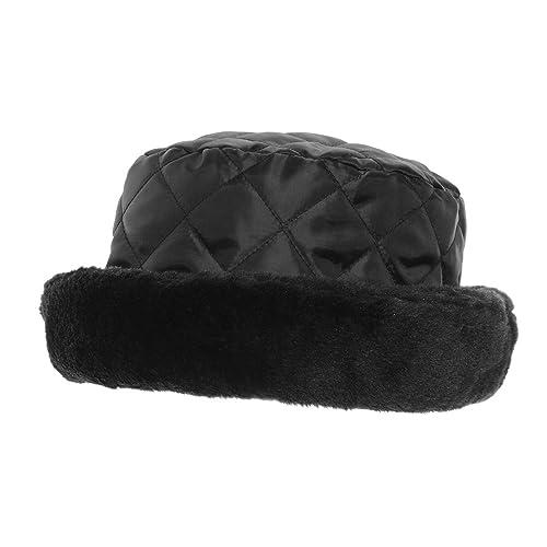 Cappello Trapuntato con Pelliccia – Donna (57cm) (Nero)