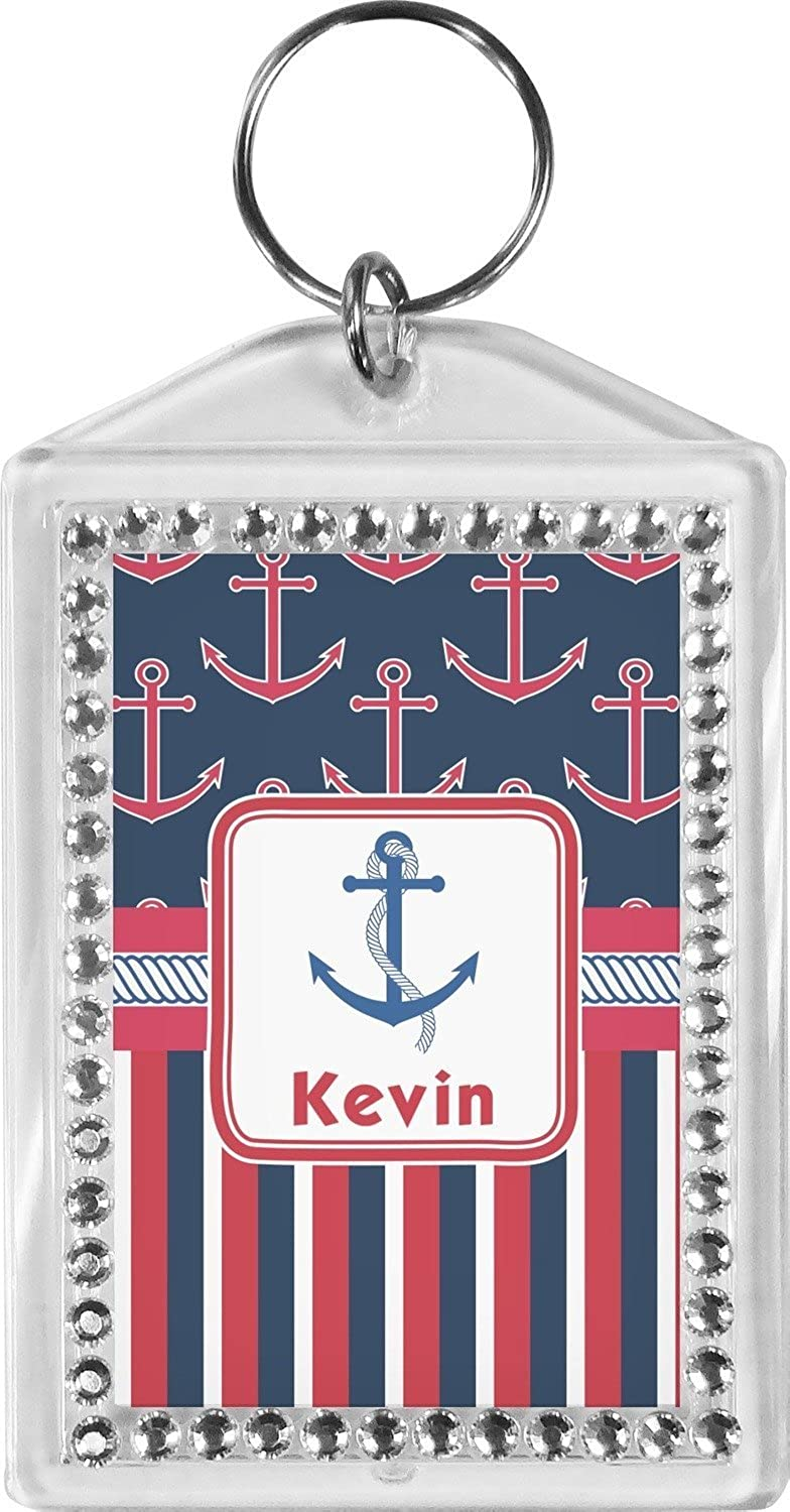 Anchors & Stripes Bling Keychain (Personalized)
