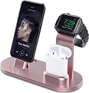 OLEBR Charging Stand Compatible with iWatch 5 and 4 Watch Charging Stand for AirPods, iWatch Series 5/4/3/2/1,iPhone 11/11 Pro/11 Pro Max/Xs/X Max/XR/X/8/8Plus/7/7 Plus /6S /6S Plus/iPad-Rose Gold