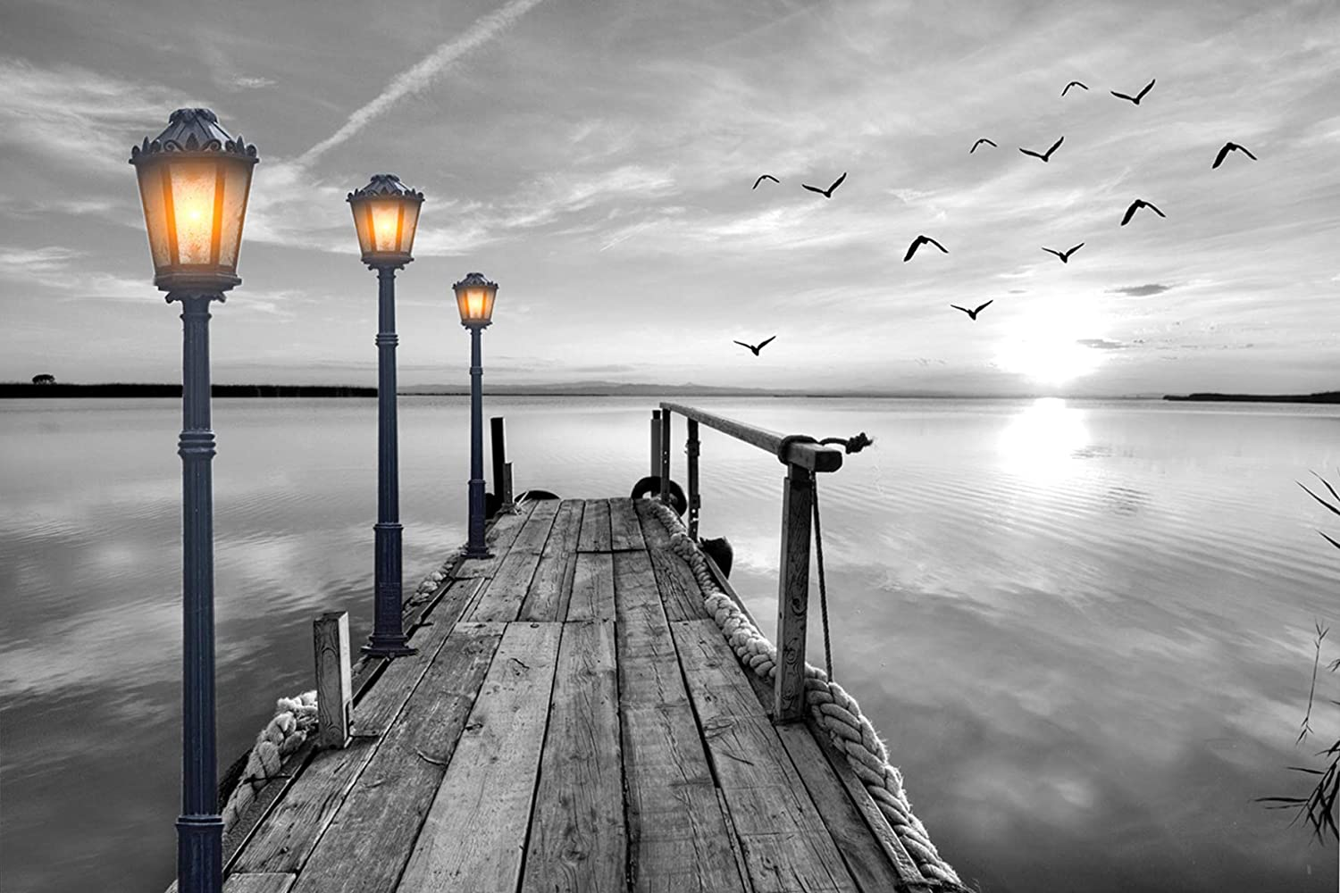 Wall Art Canvas Print – Black White Beach Pier Seagull Landscape Picture for Wall Decor Painting Ready to Hang - 24x36 inches