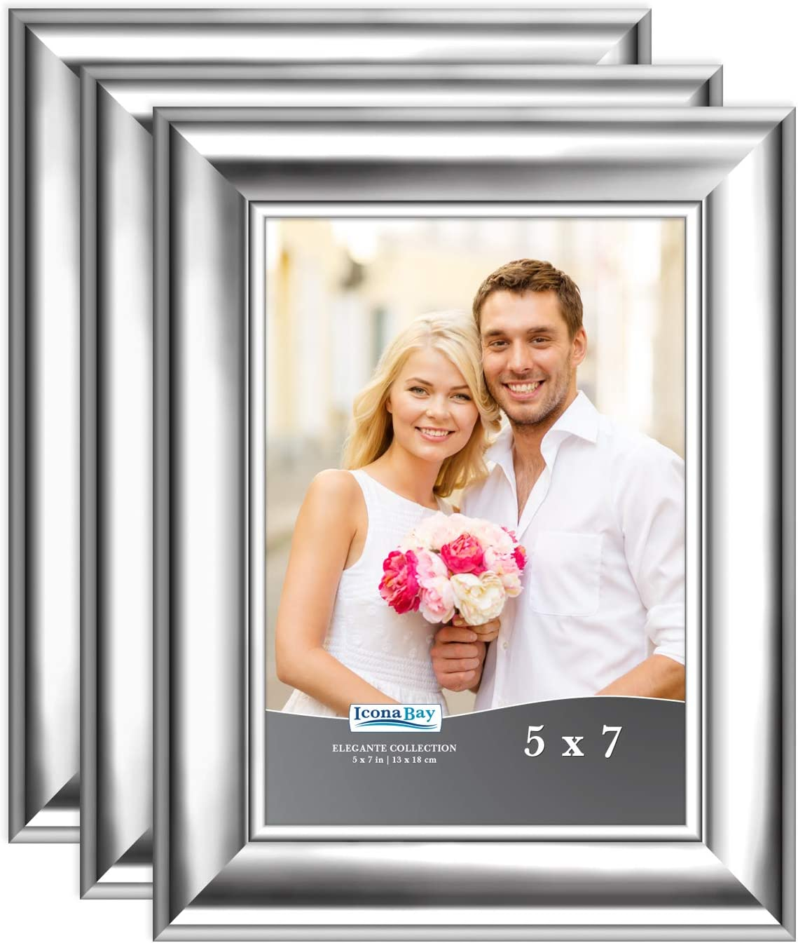 Amazon Com Icona Bay 5x7 Picture Frames Silver 3 Pack Contemporary Photo Frames 5 X 7 Wall Mount Or Table Top Elegante Collection