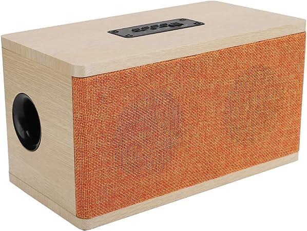 Altavoz Bluetooth de Madera, Altavoces inalámbricos portátiles de 10 vatios con Controlador Dual, Caja de Sonido estéreo para computadora, TV, Soporte Bluetooth, AUX, Tarjeta TF, FM: Amazon.es: Electrónica