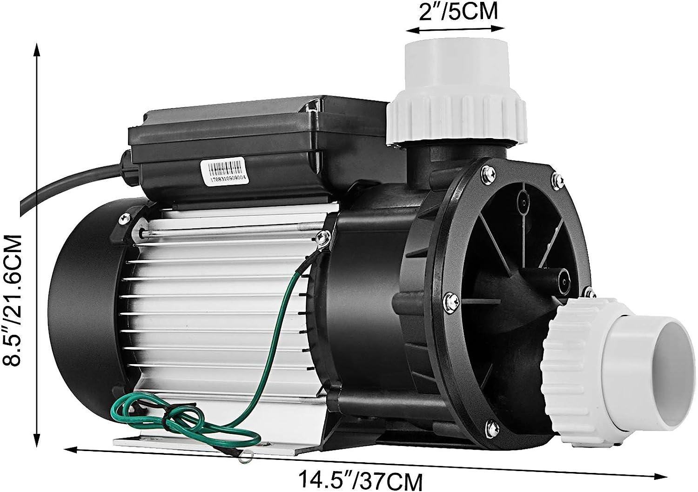 US Plug 1500W 110V Swimming Pool Water Spa Above Ground Pool Pump w//Plastic Impeller MONIPA 2HP Bath Tub SPA Circulation Pump