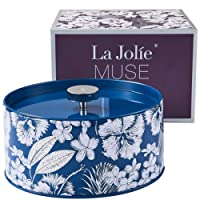 LA JOLIE MUSE Large Scented Candle Gift 14OZ, 3-Wick Candle Blue Tin Natural Wax, Crispy Cotton