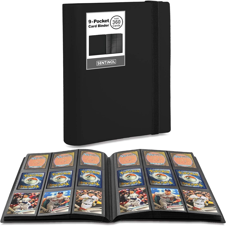 Sentinol Card Binder 9 Pocket - Sports Card Binder Hold 360 Cards in Heavyweight Sleeves, Trading Card Binder for Pokemon, MTG, Baseball Cards, Kpop Photos, Amiibo Cards (Black, 1 Pack): Toys & Games