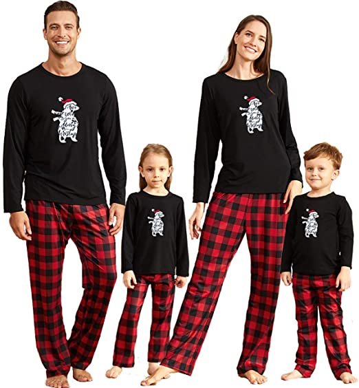 Yaffi Family Matching Pajamas Set Christmas Festival Outfits Team Santa Top with Plaid Pants Two Pieces PJs Lounge Wear