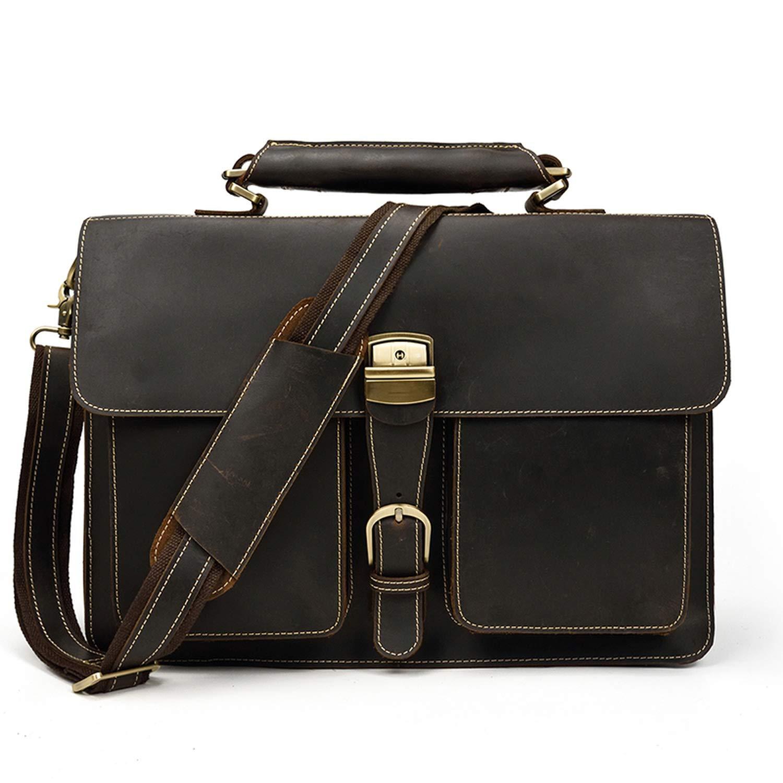 Vintage Mens Genuine Leather briefcase 16 Cowhide Business bag