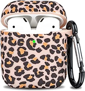 Airpod Case - LitoDream Soft Silicone Flexible Skin Cheetah Case Cover for Apple AirPods 2&1 Cute for Girls Women with Keychain - Leopard
