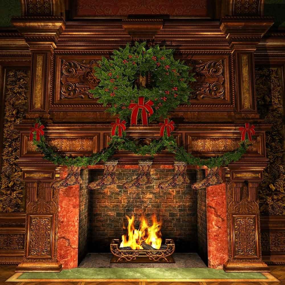 GladsBuy Christmas Fireplace 10' x 10' Digital Printed Photography Backdrop Christmas Theme Background YHA-129