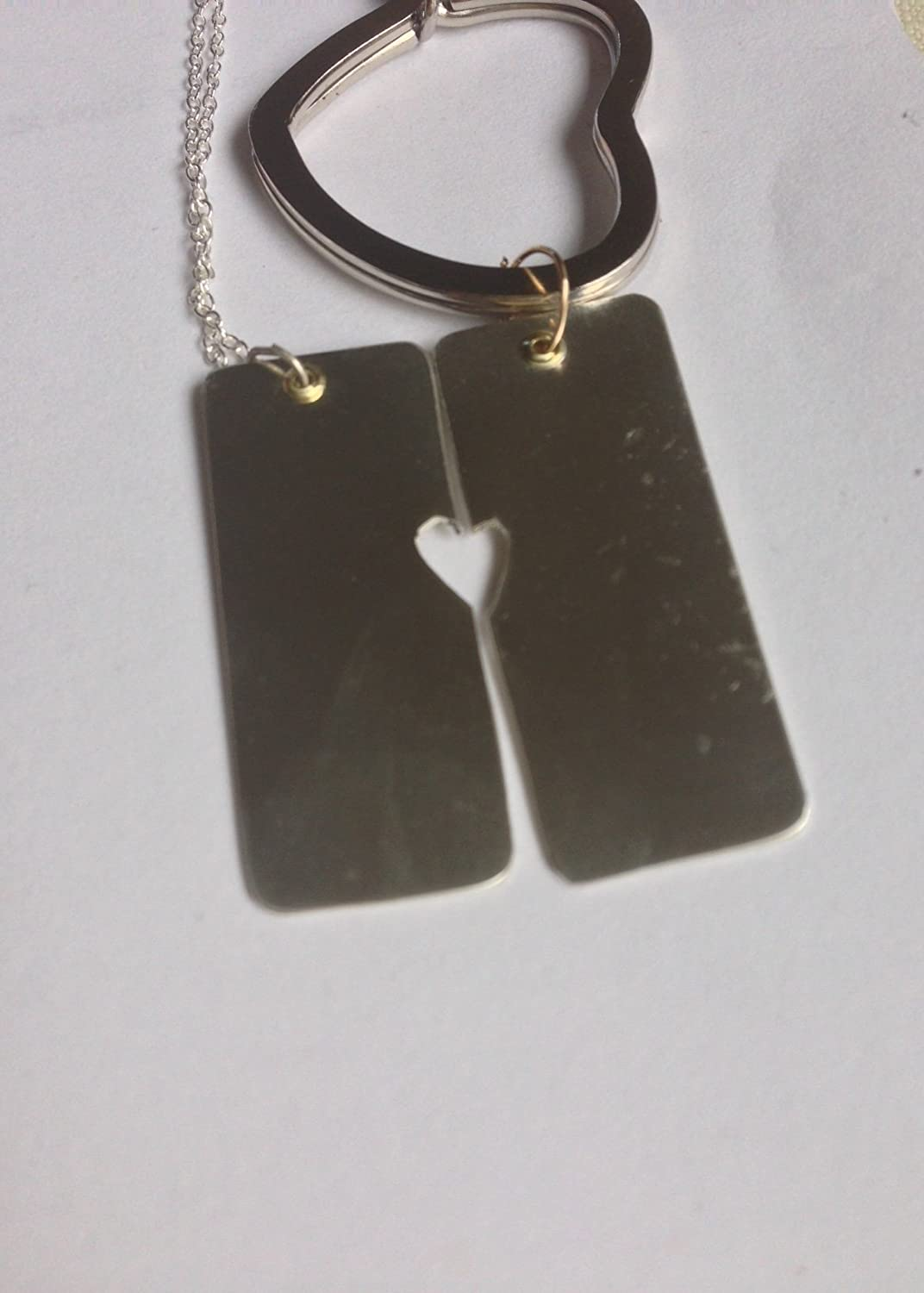 6ddad73edb Matching Couple Necklace with Dog Tag and split heart , Dog Tag Partner  Necklace with heart Charm, Personalized Boyfriend Girlfriend gift sterling  copper ...