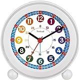 Tinload Analog Alarm Clock for Kids, Telling Time Teaching Design, Silent Non Ticking,Gentle Wake, Increasing Beep…