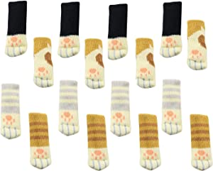 Upgraded Preventing Slip Off Design 16PCS (4 Sets) Chair Socks Lovely Furniture Pads with Cute Cat Paw Patterns Knitted Wool Chair Leg Floor Protectors for Hardwood Floor - Pack of 16 Socks