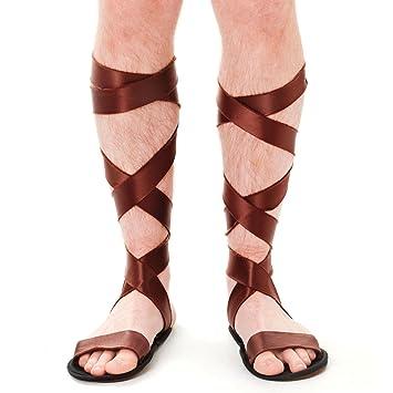 9bd696998351 Mens Brown Roman Sandals Gladiator Centurion Tie Up Novelty Shoes Fancy  Dress Accessory Felt Wrap Around Leg Greek Summer UK 9  Amazon.co.uk  Toys    Games
