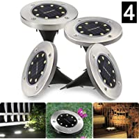 WeyTy Solar Garden Lights, 4 Pack 8LED Solar Ground Lights Outdoor Solar LED Pathway Lights, White Solar Landscape Lights for Lawn, Patio, Walkway, Driveway