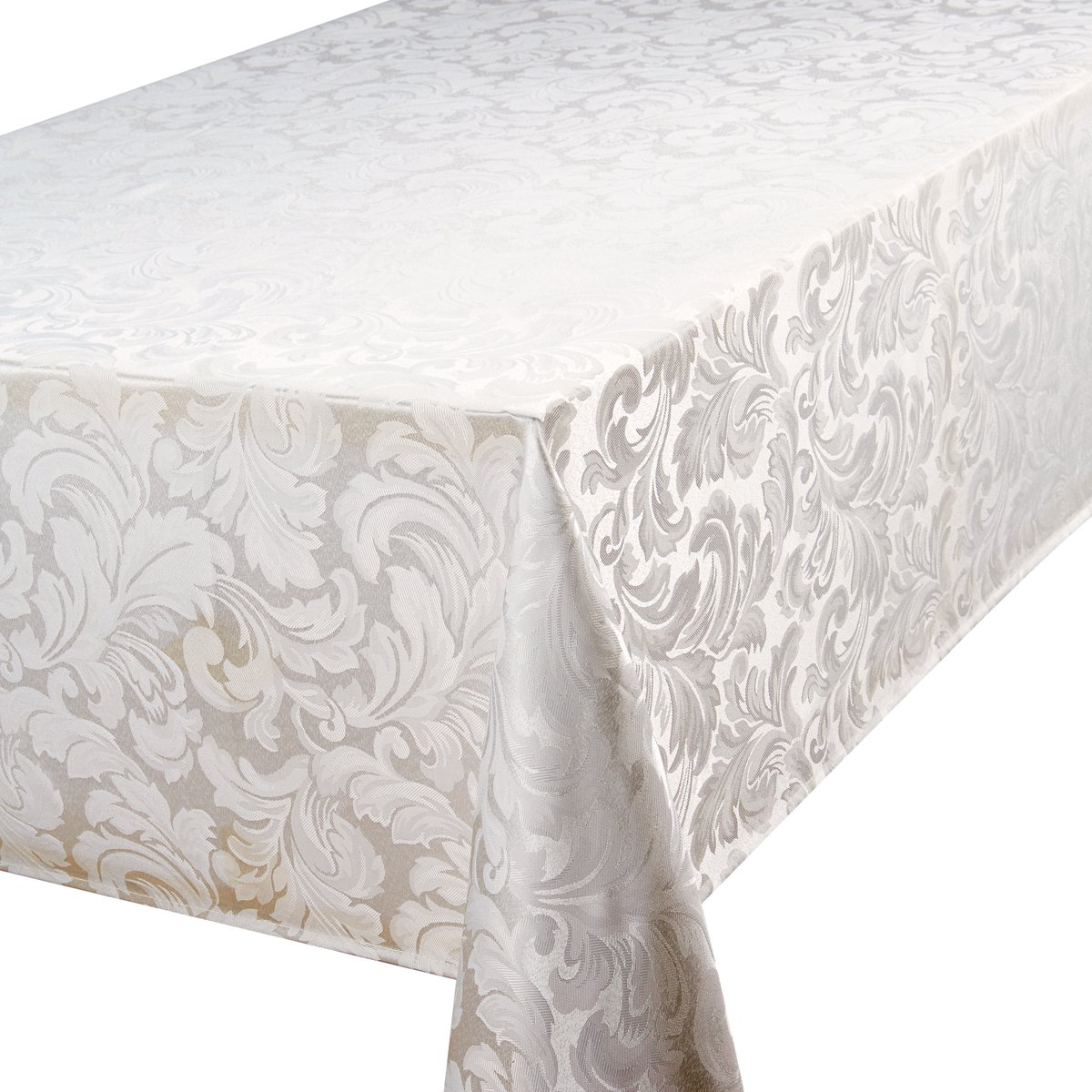 Christmas Tablescape Décor - Christmas damask elegant glacier cream 6 - 8 place rectangular tablecloth