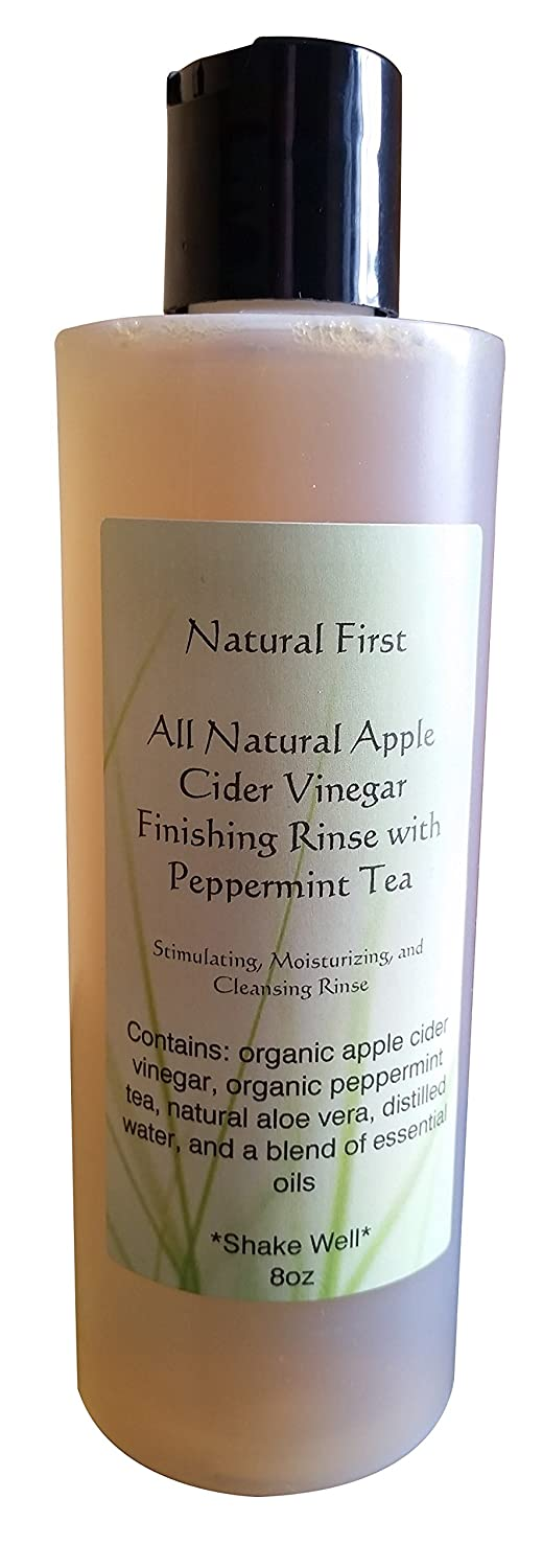 Natural First Organic Apple Cider Vinegar Finishing Rinse w/Peppermint for Moisturizing, Stimulating, and Cleansing