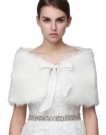 Clear Bridal Faux Fur Wrap Shawl For Wedding Dress Winter C17001