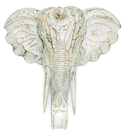 kascha 50 cm Decoración máscara elefante – Decoración de pared – color blanco – talladas a