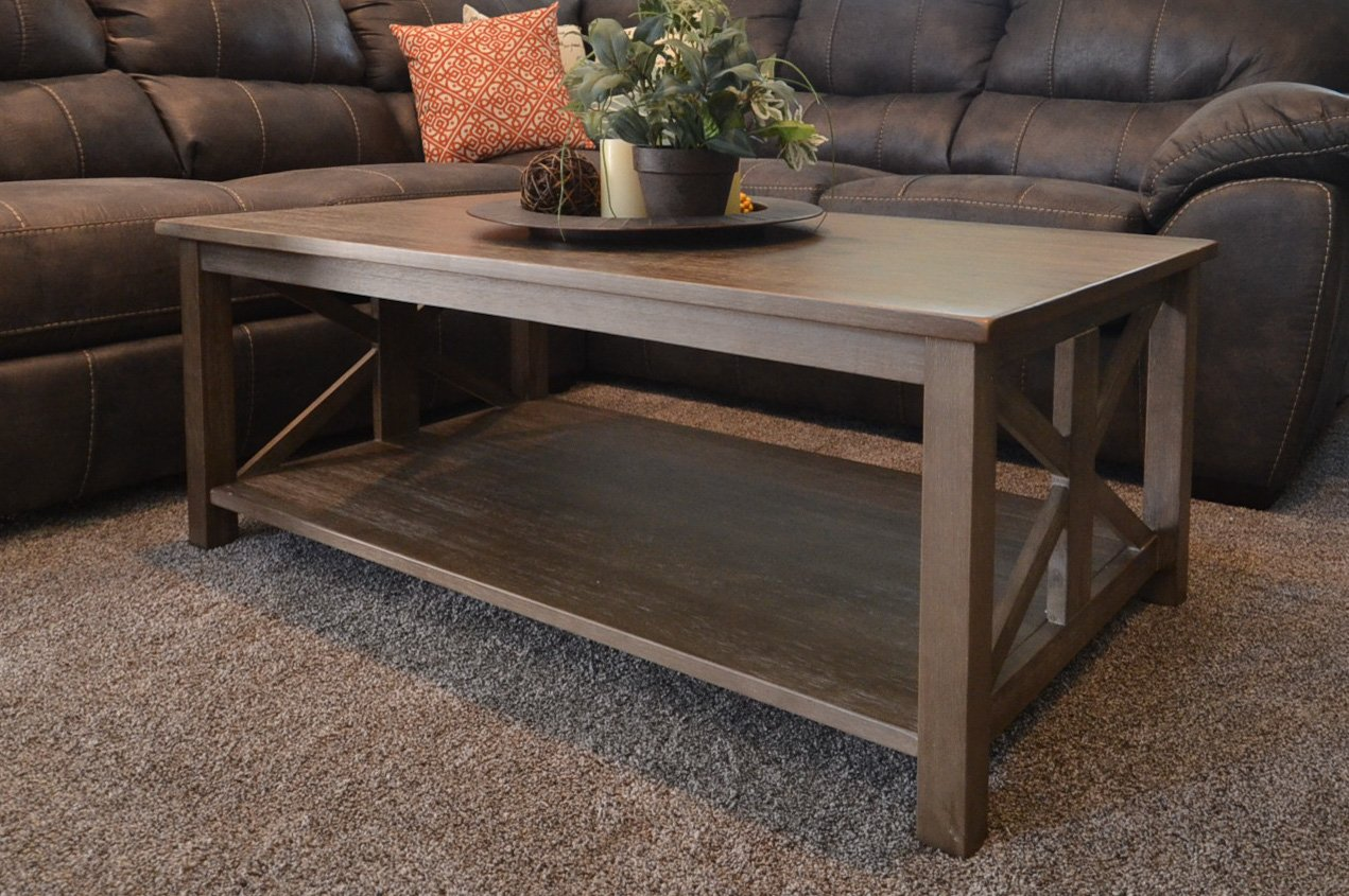 Amazon.com: Farmhouse Style Coffee Table: Solid Wood Rustic U2013 Weathered  Gray   East End Collection   Living Room Furniture: Kitchen U0026 Dining