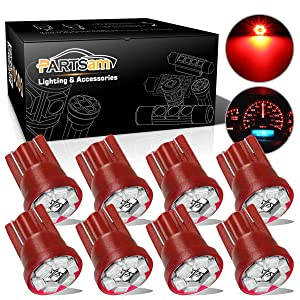Partsam T10 194 LED Light Bulb 168 LED Bulbs Instrument Panel Gauge Cluster Dashboard LED Light Bulbs No-Polarity 2825 Dome Map Lights – 8Pack Red