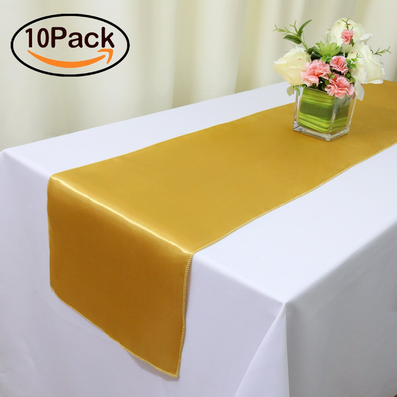TRLYC 10pcs 12''X108'' Luxury Gold Satin Table Runners Wedding Party Table Decoration Accessories Home Textiles