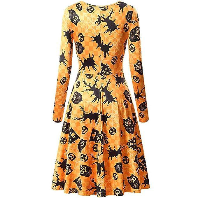 Overdose Despacho De Disfraces De Halloween Falda De Cuello Redondo Ocasional De Las Mujeres De Manga Larga De Halloween Vestido De CóCtel Impreso Vestido: ...