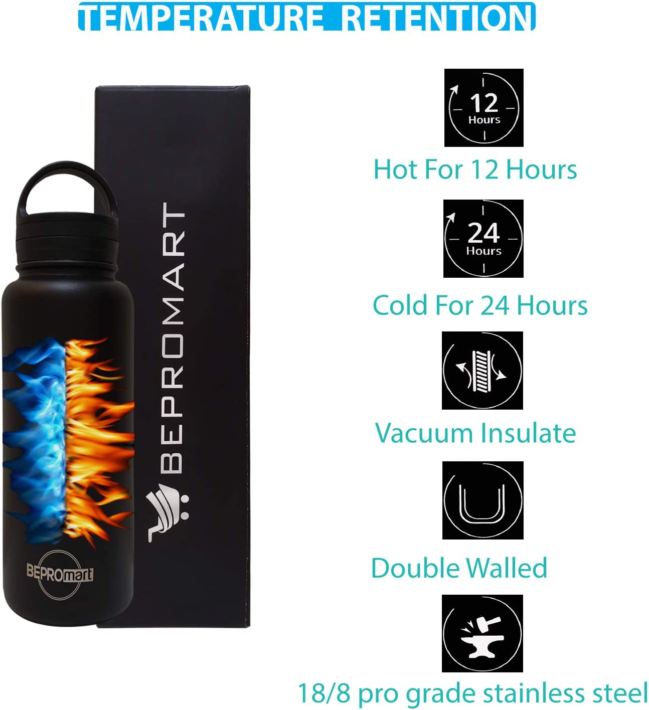 Sweatproof Sport Bottle Keeps Hot and Cold. Stainless Steel Water Bottle//Tumbler BEPROMART 32oz Water Bottle with 2 Leakproof Lids Wide Mouth Double Wall Vacuum Insulated