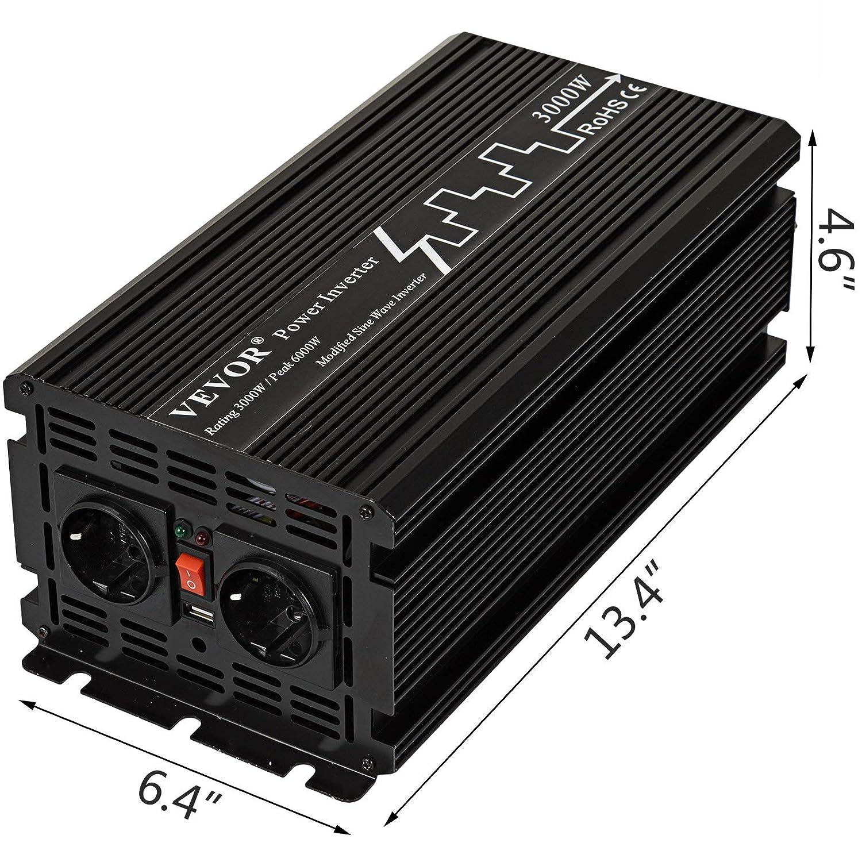 Remote Control Travel Adaptors FlowerW 3000W Power Inverter Pure Sine Wave 12 DC to 230V AC Converter Peak Power 6000W Car Inverter with USB