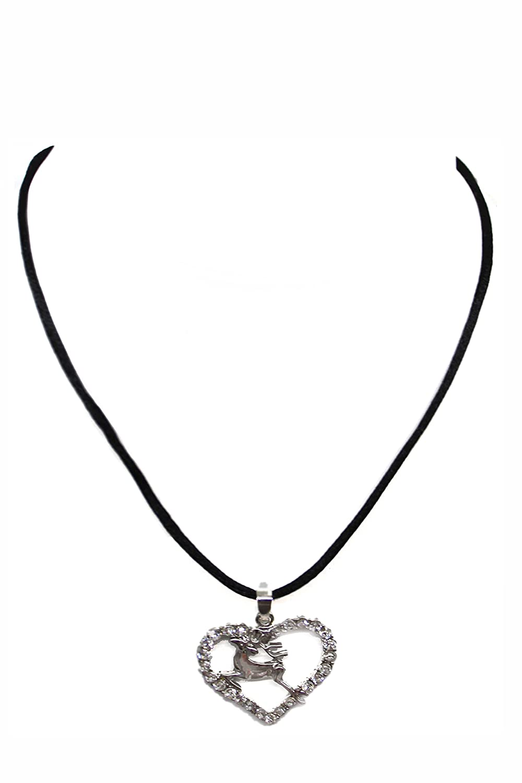 Moda Bavarica Dirndlkette Halskette grün für Dirndl zur Wiesn und Oktoberfest Hirsch Strass Damen Kinder