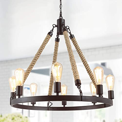 LNC Rustic Farmhouse Chandeliers for Dining Rooms Foyer Light Fixture, A02994