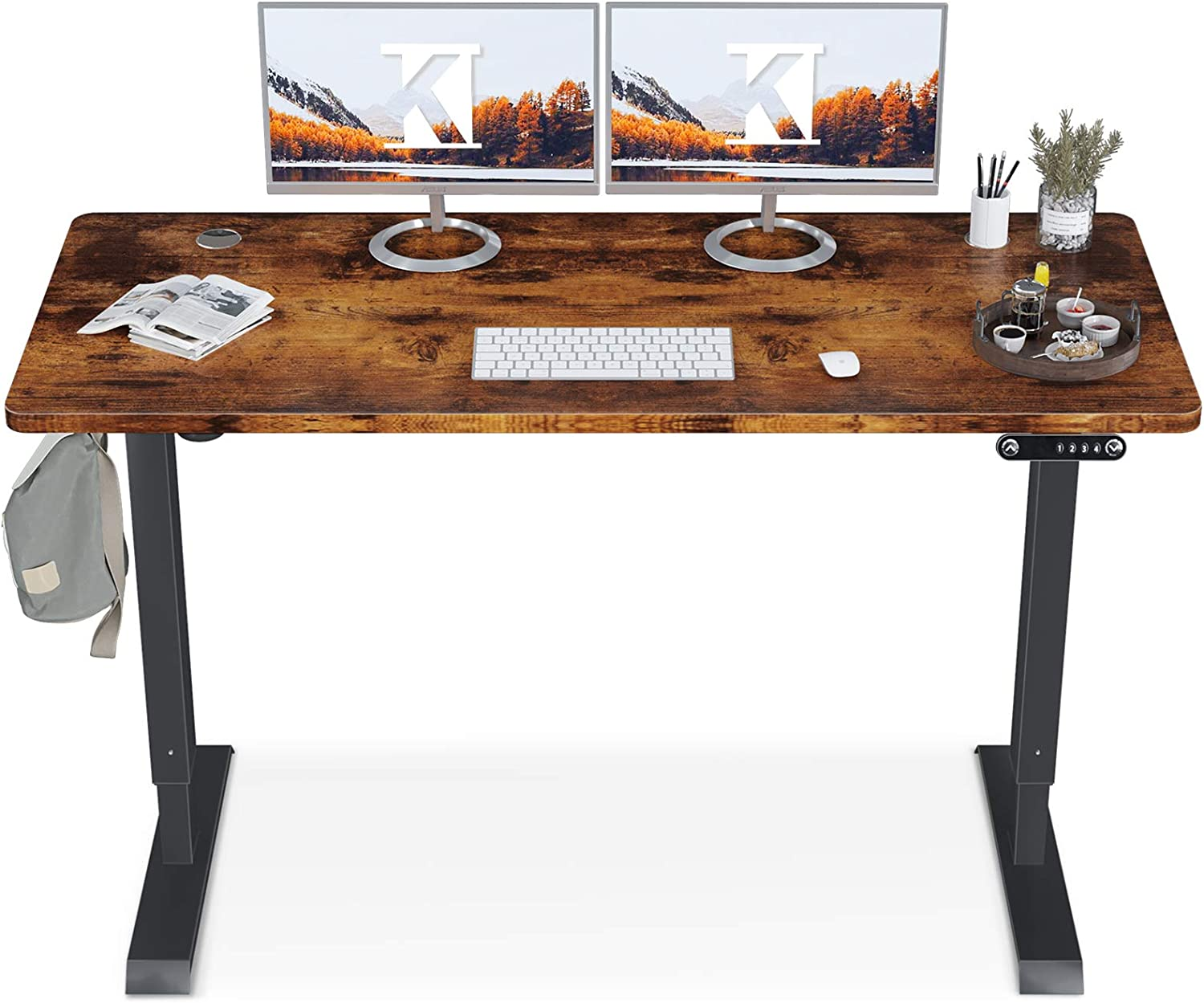 KKL Height Adjustable Electric Standing Desk, 55 x 28 Inches Sit Stand Desk Home Office Table with Splice Board, Rustic Brown