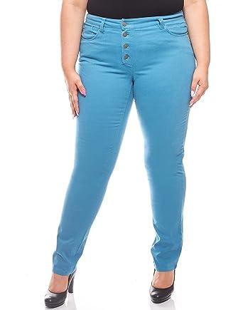 84bc59394a Sheego Stretch Jeans mit Knopfleiste Stoff-Hose Trend-Hose Damen Große  Größe Langgröße Petrol