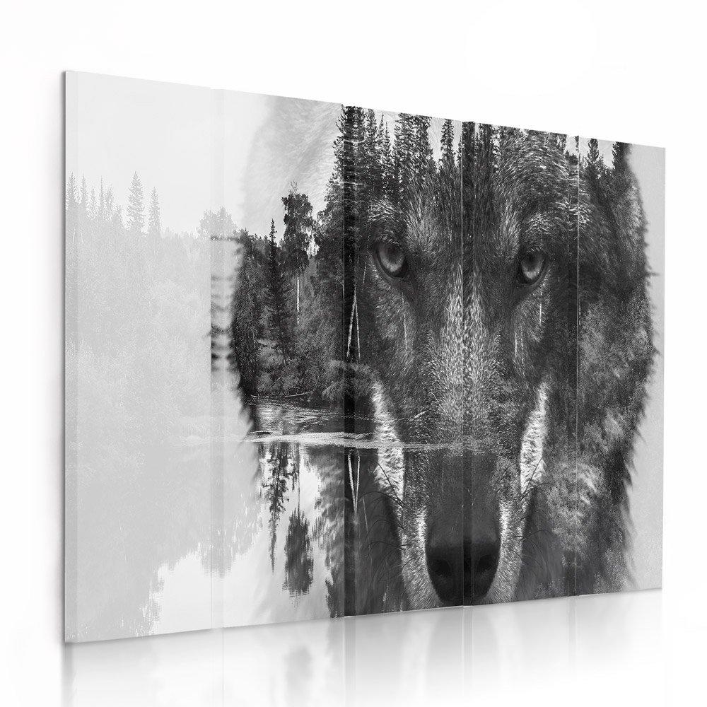 Feeby Frames, Leinwandbild Bilder Wand Bild - 5 Teile - Wandbilder Kunstdruck (Wolf SCHWARZ und WEIß) 100x200 cm, Typ C