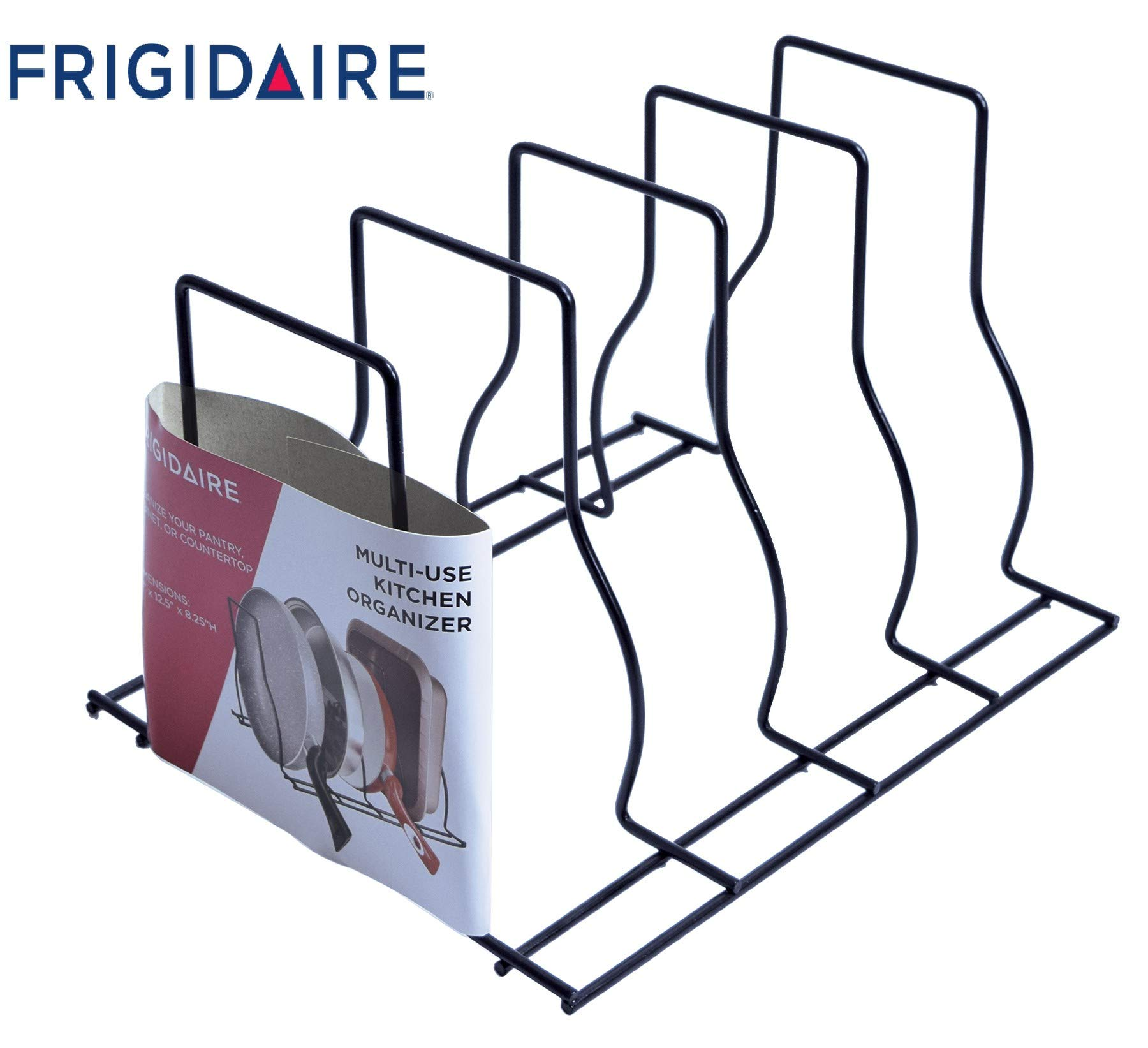 Frigidaire Brand Metal Pot and Lid Organizer Multifunction Kitchen & Pantry Storage Black