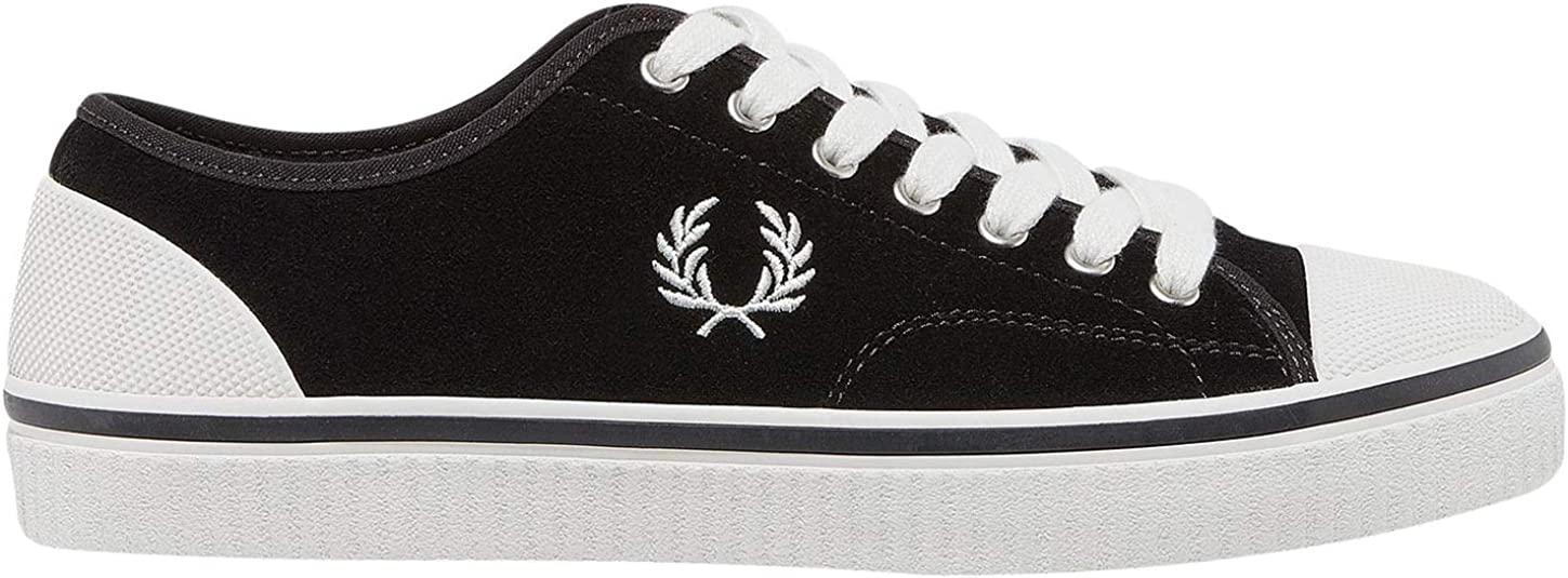 Fred Perry Men's Hughes Low Suede Sneakers Black in Size 41