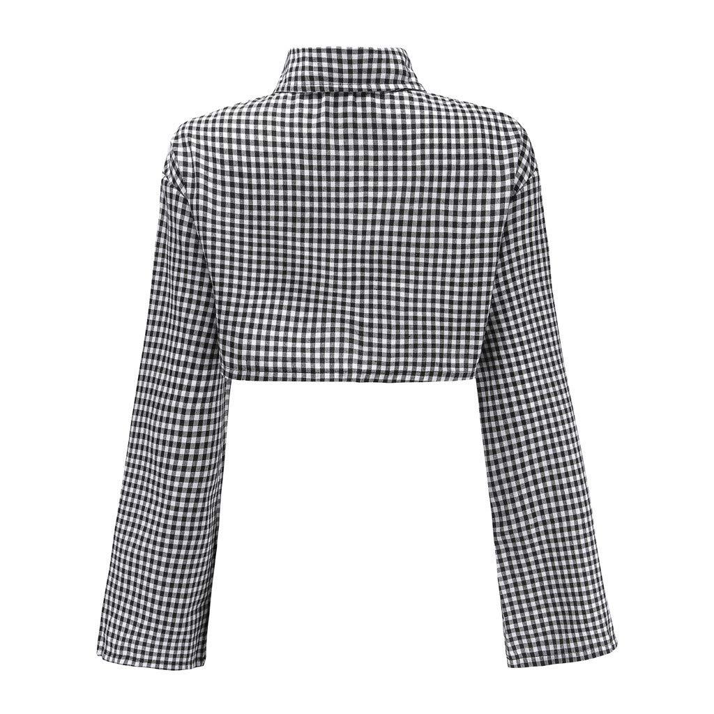 AOJIAN Blouse Women Long Sleeve T Shirt Plaid Sweatshirt Sexy Crop Tees Sweater Shirts Tops at Amazon Womens Clothing store: