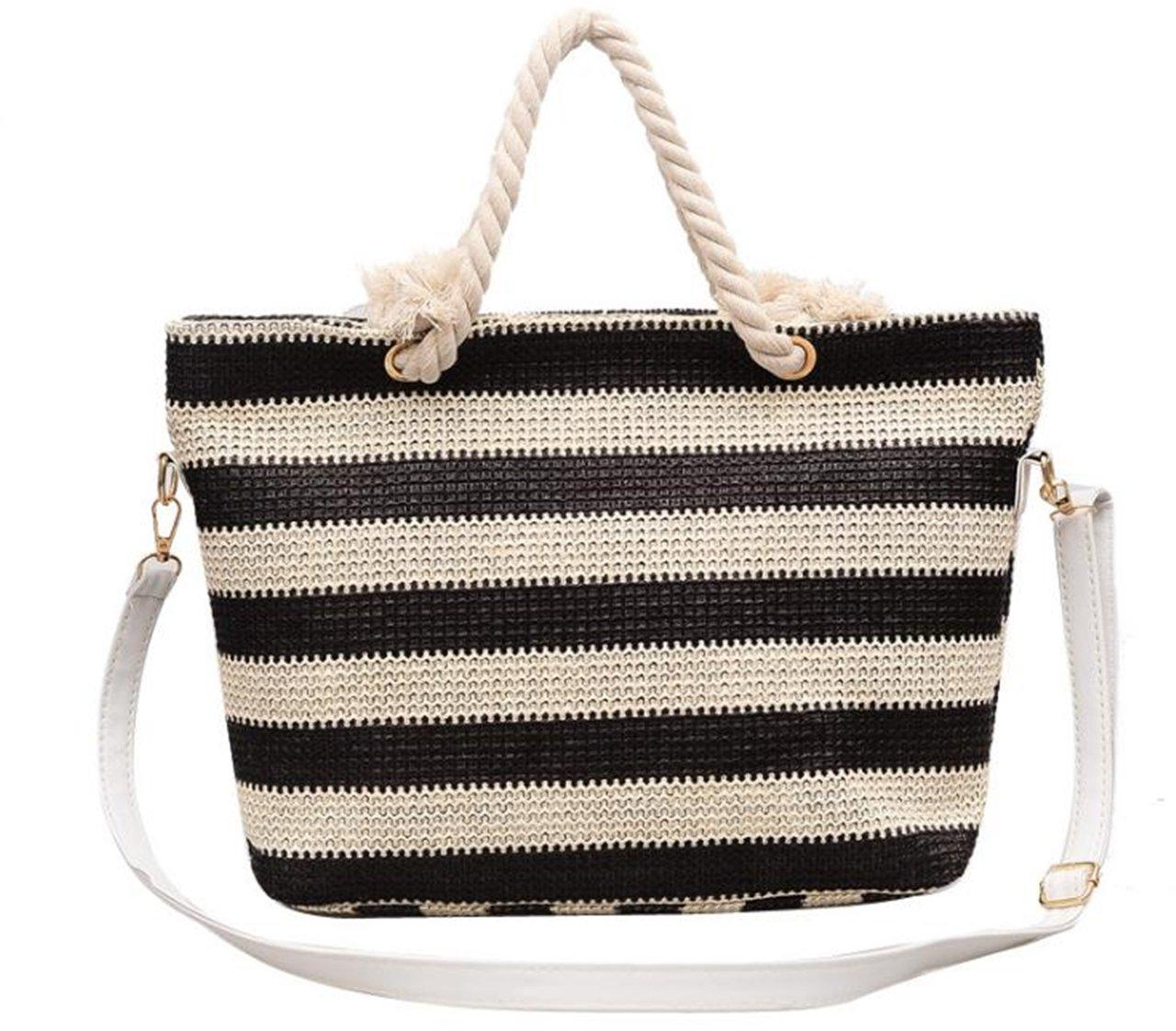 Women's straw beach bag 2 color weave single shoulder withTop Zipper Rope Handles Inner Pocket (Black)
