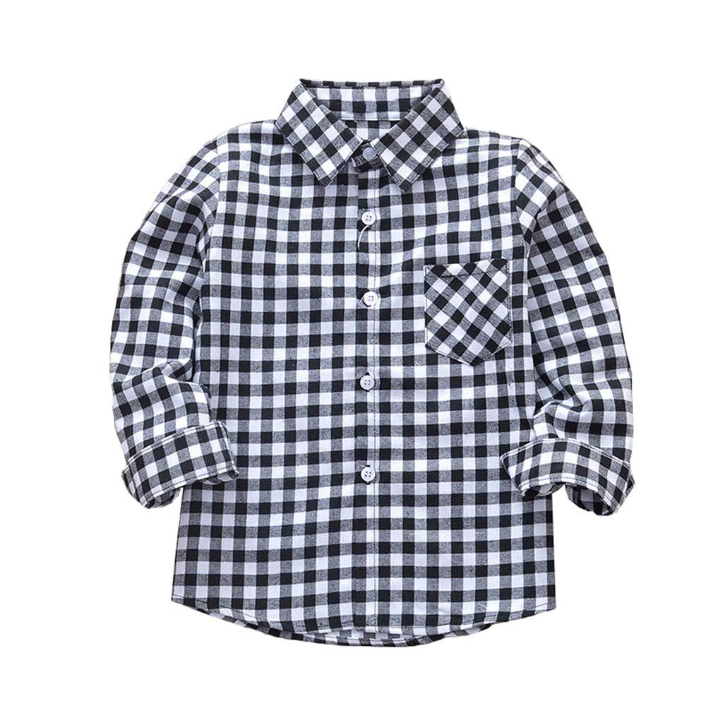 Unisex Maniche Lunghe Camicie Bambini Comodo Plaid Ragazzi Camicie con Tasca Ragazzi Autunno Cappotto Ragazze Pulsante Top 2-14 Anni