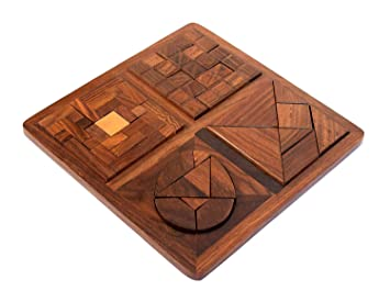4 in 1 Tray Kids Wooden Puzzle Pedagogical Brain Teaser Board Games (Brown) The Mind Challenge
