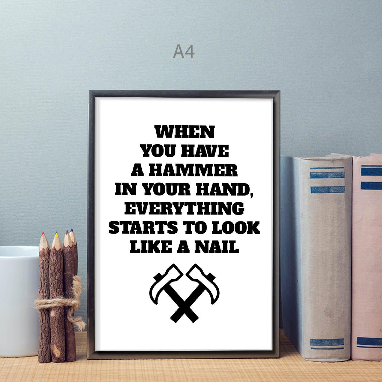 Amazon.com: Hammer Joke Saying Funny Life Like Nail Matte/Glossy ...