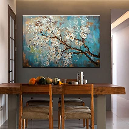IPLST Modern Abstract Hand Painted Blossoming Pear Tree Flowers Oil  Painting for Bedroom,Dinning Room Decoration, Large Fabric Canvas Art for  Wall ...