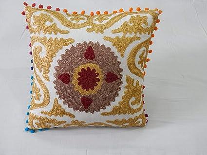 Handicraft Bazar Funda de cojín India de algodón con Bordado ...
