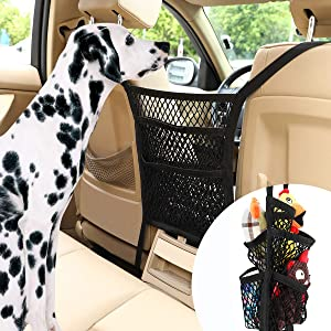 Pawaboo Dog Car Barrier, Upgraded 5-Layer Dog Net Safe Drive Disturb Stopper Easy Install Pet Stretchable Mesh Obstacle with Carabiners & Hooks, Back Seat Net Organizer Storage Pouch Bag Fit All Cars