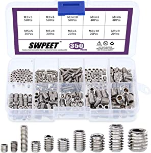 Swpeet 350 Pcs Stainless Steel Allen Head Socket Hex Grub Screw Assortment Kit, Including 10 Sizes M3/4/5/6/8 Stainless Steel Internal Hex Drive Cup-Point Set Screws for Door Handles