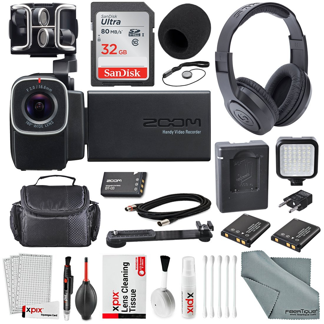 Zoom Q8 Handy Video Recorder with Samson Studio Headphones and Deluxe Accessory Bundle with Cleaning Kit