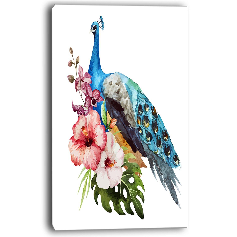 Designart Hibiscus Peacock-Large Flower Canvas Wall Art-28X36 3 Piece 28 H/x/36 W/x/1 D 3P Blue 28/'/' H/x/36/'/' W/x/1/'/' D 3P Blue Design Art PT11800-3PV