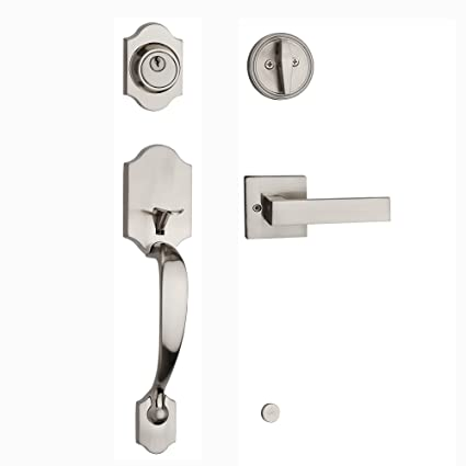 HAIFUAN Front Door Handle Set, Satin Nickel, With Deadbolt,Both For Right  Hand