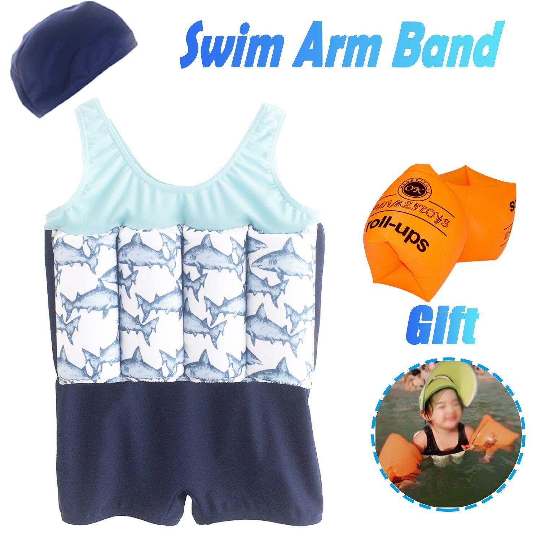 AMENON Kids Swim Vest Float Swimsuits Sunsuit Adjustable 8 Pack Buoyancy Arm Band